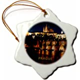 3dRose orn_80864_1 Prague Czech Republic at Night Snowflake Decorative Hanging Ornament, Porcelain, 3-Inch