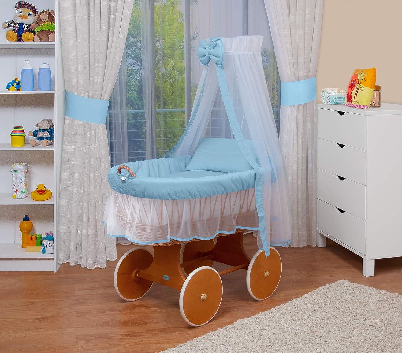 24 modelos a elegir,Madera//ruedas lacado,color textil azul//blanco WALDIN Cuna Mois/és carretilla portabeb/és XXL