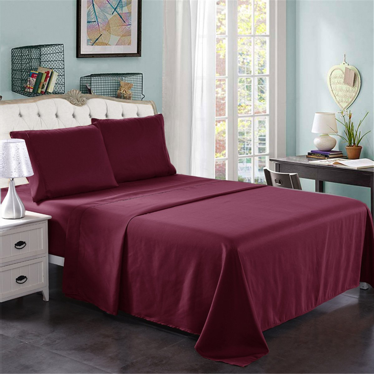 Queen Size Bed Sheets Set Burgundy, JML Hotel Luxury Bed Sheets - 4 Pieces