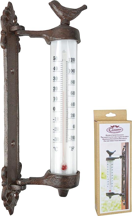 Termómetro ventana termómetro Ventana Termómetro de pared fundido: Amazon.es: Jardín