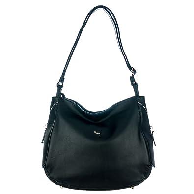 b25a04fc1e8 Bruno Rossi Italian Made Black Calf Leather Side Zip Shoulder Bag ...