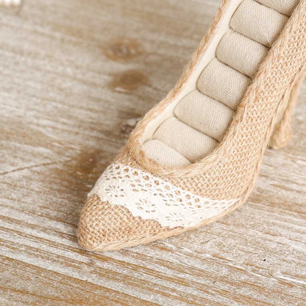 Anniversary or Housewarming Gift Shabby Chic Jewellery Holder with Hessian Fabric Finish and Beautiful Lace and Button Decorations Dibor Rustic Style Stiletto Shoe Ring Cushion Ideal Wedding