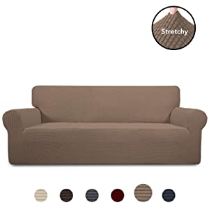 PureFit Stretch Sofa Slipcover – Spandex Jacquard Anti-Slip Soft Couch Sofa Cover, Washable Furniture Protector with Anti-Skid Foam and Elastic Bottom for Kids (Sofa, Camel)