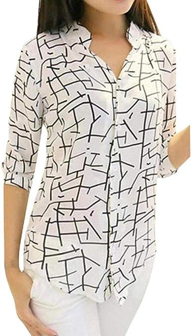 Saoye Fashion Camisa De Blusa Suelta con Cuello En V Y Manga Ropa Larga De Mujer Sudadera con Capucha Tops Camisa Estampada Elegante De Época Vintage: Amazon.es: Ropa y accesorios