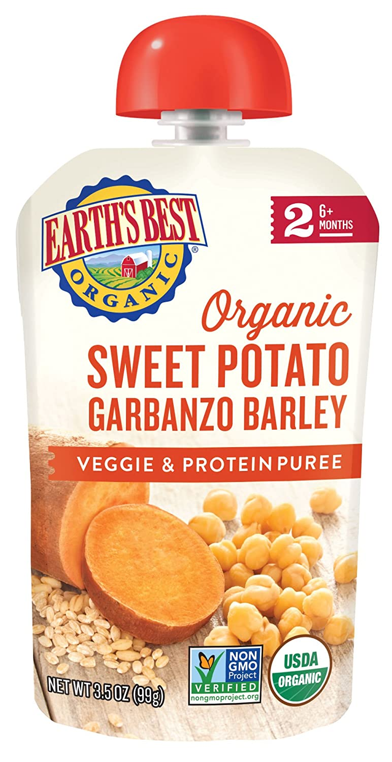 Earth's Best Organic Stage 2 Baby Food, Sweet Potato Garbanzo and Barley, 3.5 oz. Pouch (Pack of 12)