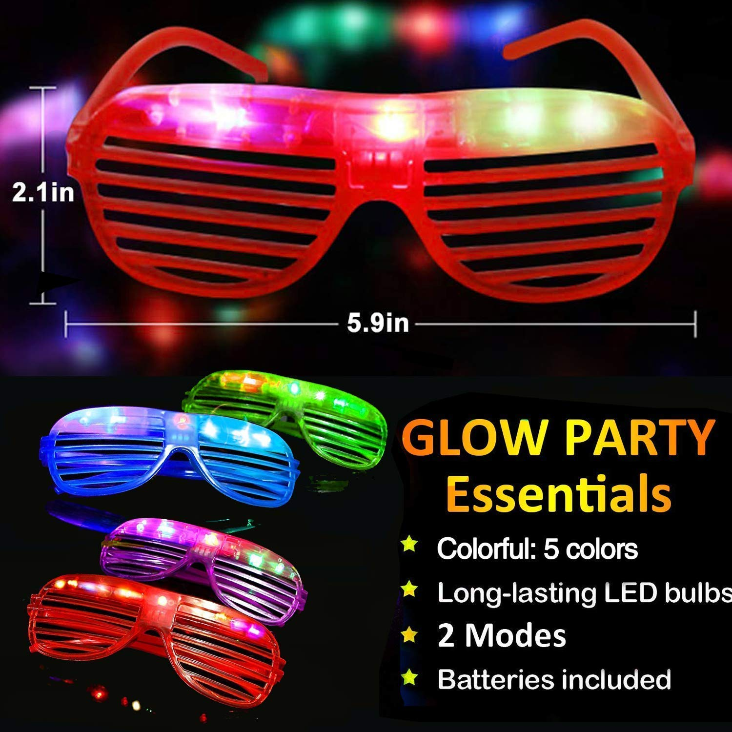 TURNMEON 20 Pack LED Glasses,5 Color Light Up Plastic Shutter Shades Glasses Shades Sunglasses for Adults Kids Glow in the Dark Party Favors Neon Party Supplies Independence Day Glow Toy by TURNMEON (Image #5)