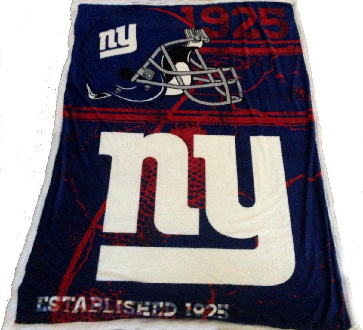 New York Giants Mink Sherpa Throw Blanket 60x80 NFL Giants Bedding by Northwest