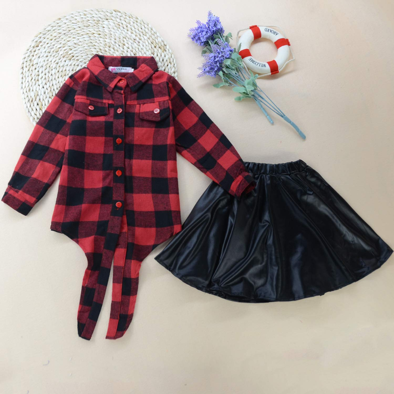 Kirt 2Pcs Dress Set Toddler Skirts Outfits Baby Girls Button Down Plaid Flannel T-Shirt