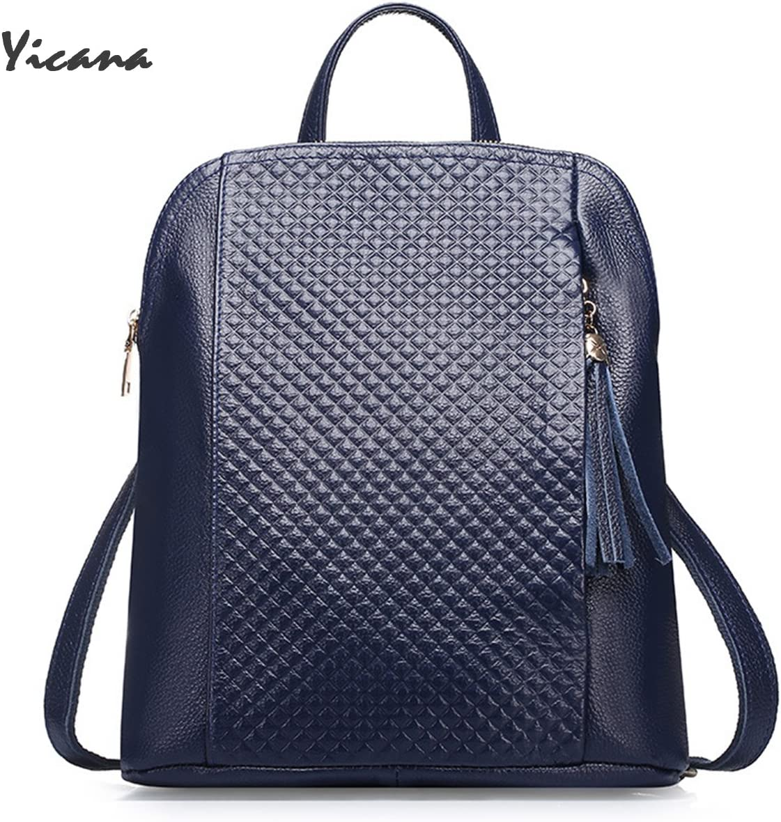 Yicana 2018 Spring//Summer New Style Genuine Leather Women Capacity Backpack Travelling Bag Blue
