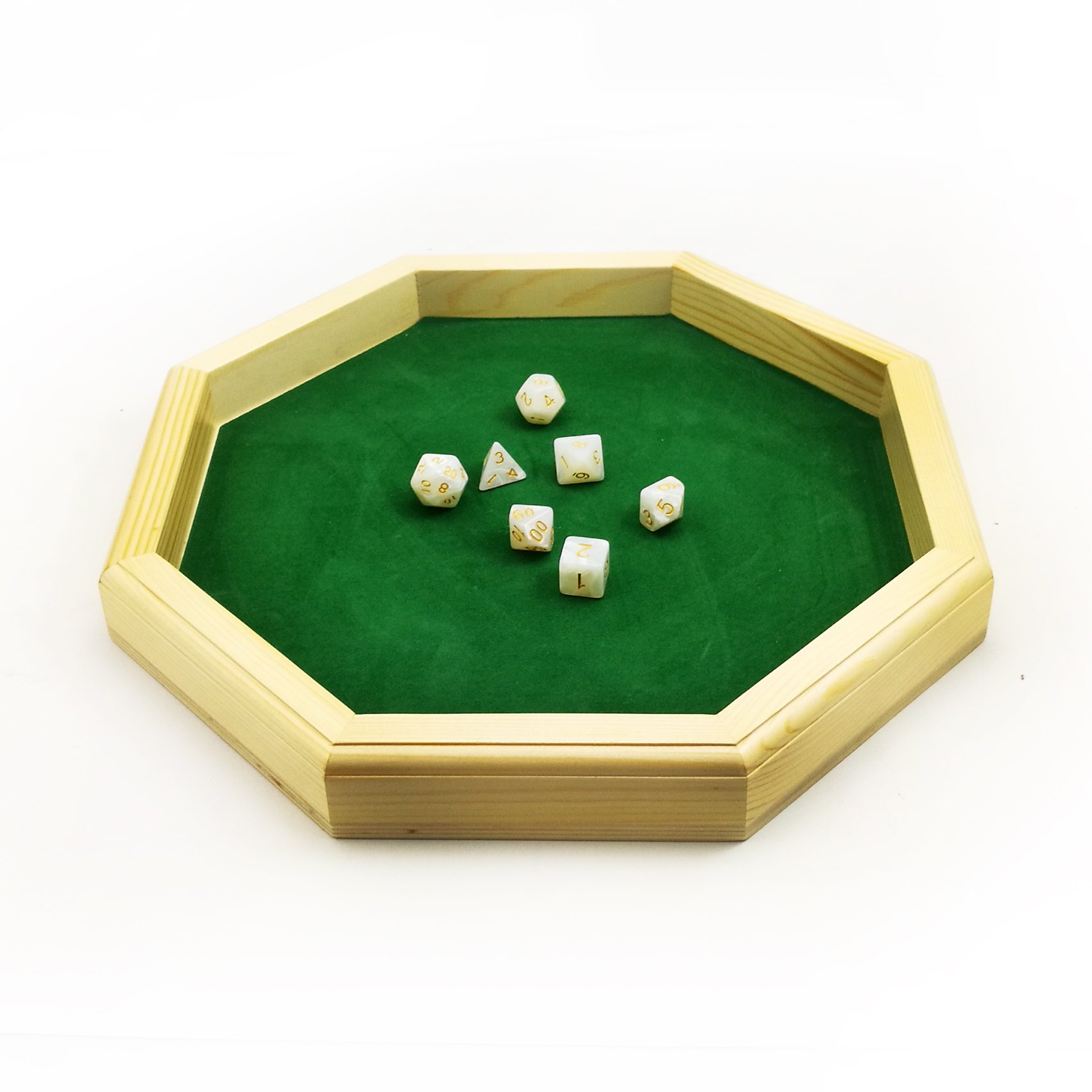 Heavy Duty 12 Inch Octagonal Wooden Dice Tray with Felt Lined Rolling Surface by BESCON DICE