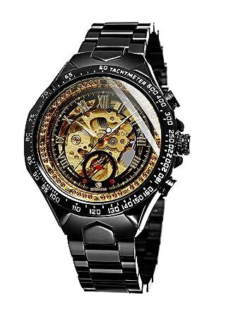 Relojes Hombre mecánico Esqueleto Acero Inoxidable Reloj de ...