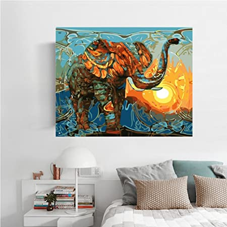 La vie wall art diy hand painted lovely animal colorful elephant with sun rise prints on