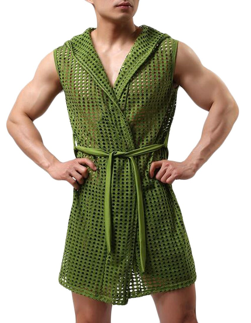 Cromoncent Men Mesh Hollow Out Hoodie Sleeveless Homewear Solid Bathrobe Green Small