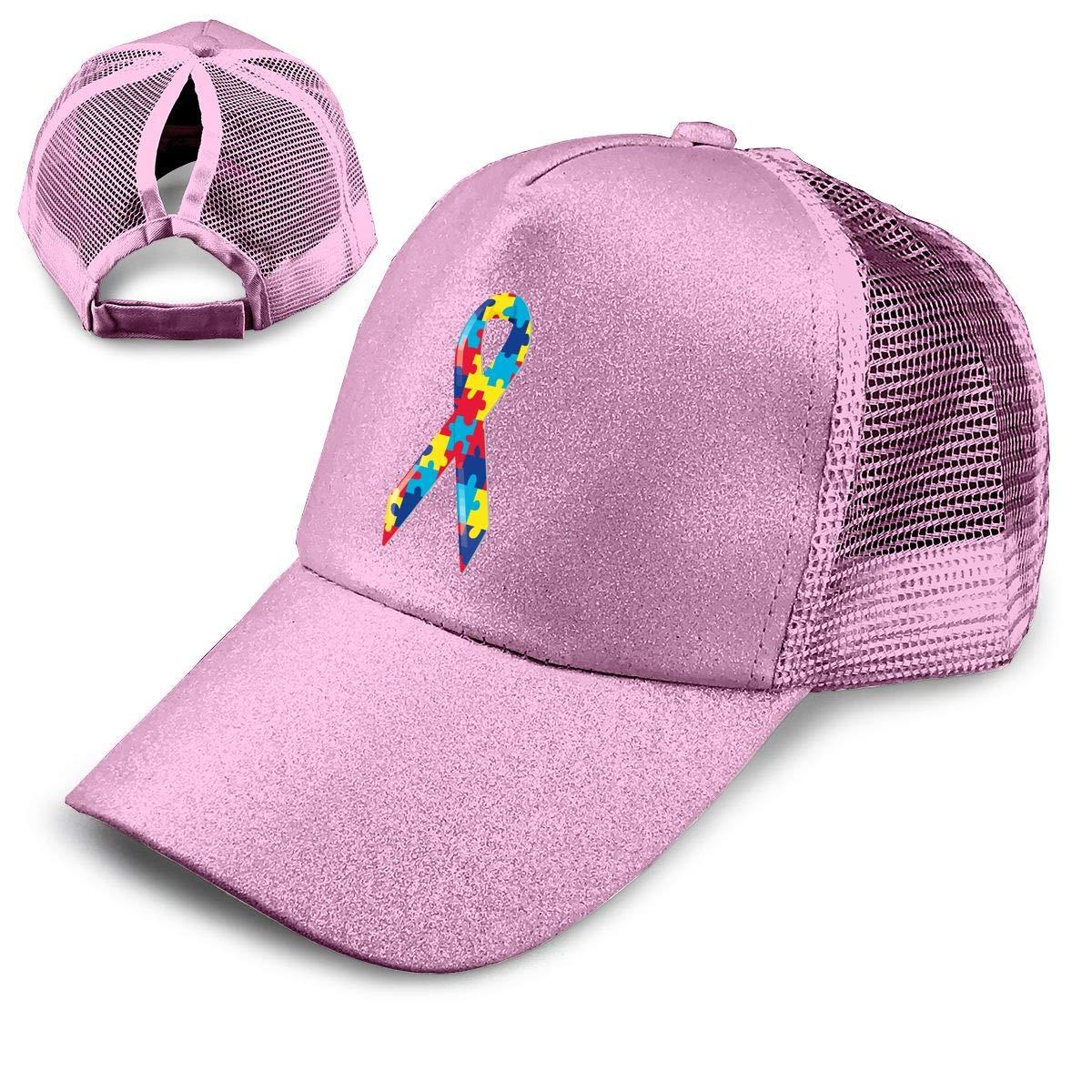 Autism Awareness Ribbon Ponytail Messy High Bun Hat Ponycaps Baseball Cap Adjustable Trucker Cap Mesh Cap