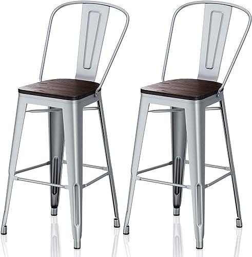 VIPEK 30 Inches Metal Bar Stools 30″ Bar Chairs Set of 2 Bar Height Barstool