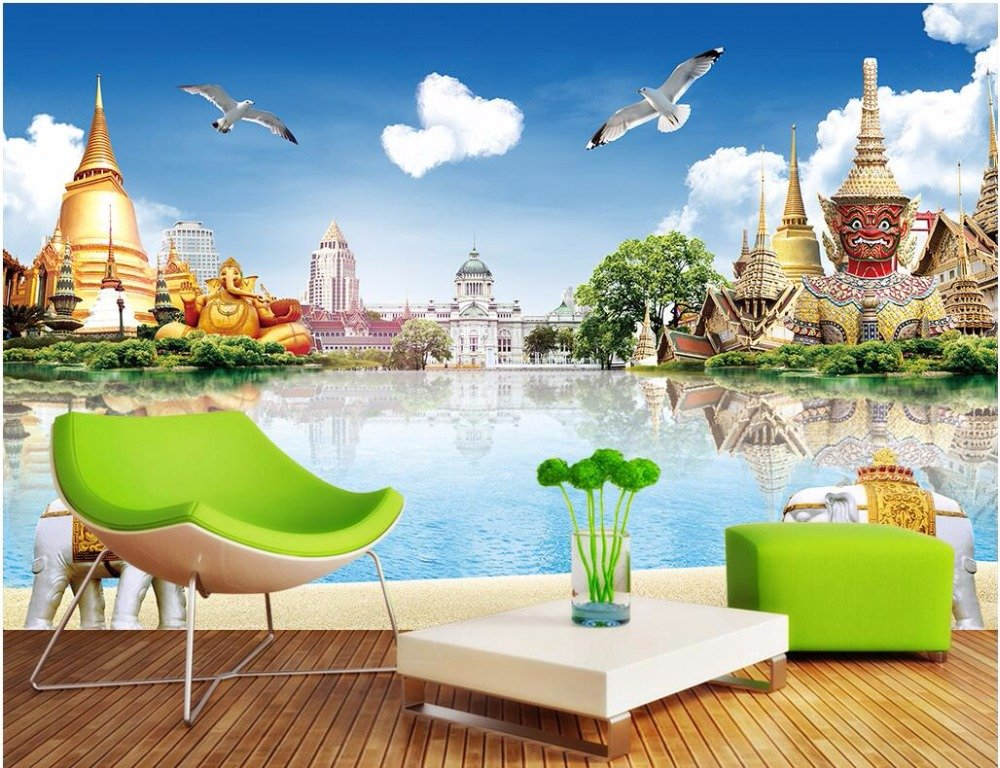 LWCX Wall Murals 3D Wallpaper 3d Photo Wallpaper Thai Building The Scenery Picture Custom Mural Painting 308X220CM