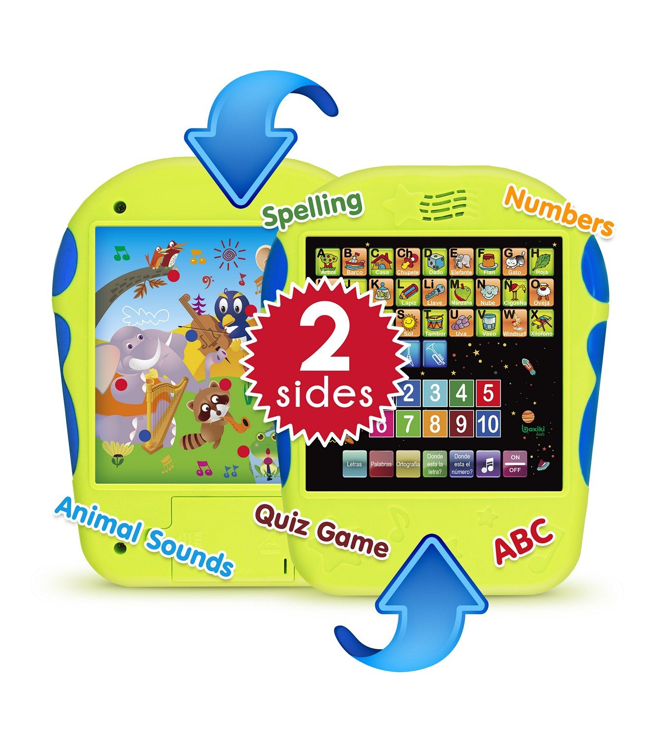 "Spanish Learning Tablet Educational Toy for Kids. Touch and Learn Spanish Alphabet Toy for Toddlers - Learn Spanish Numbers, ABC, Spelling, ""Where ..."