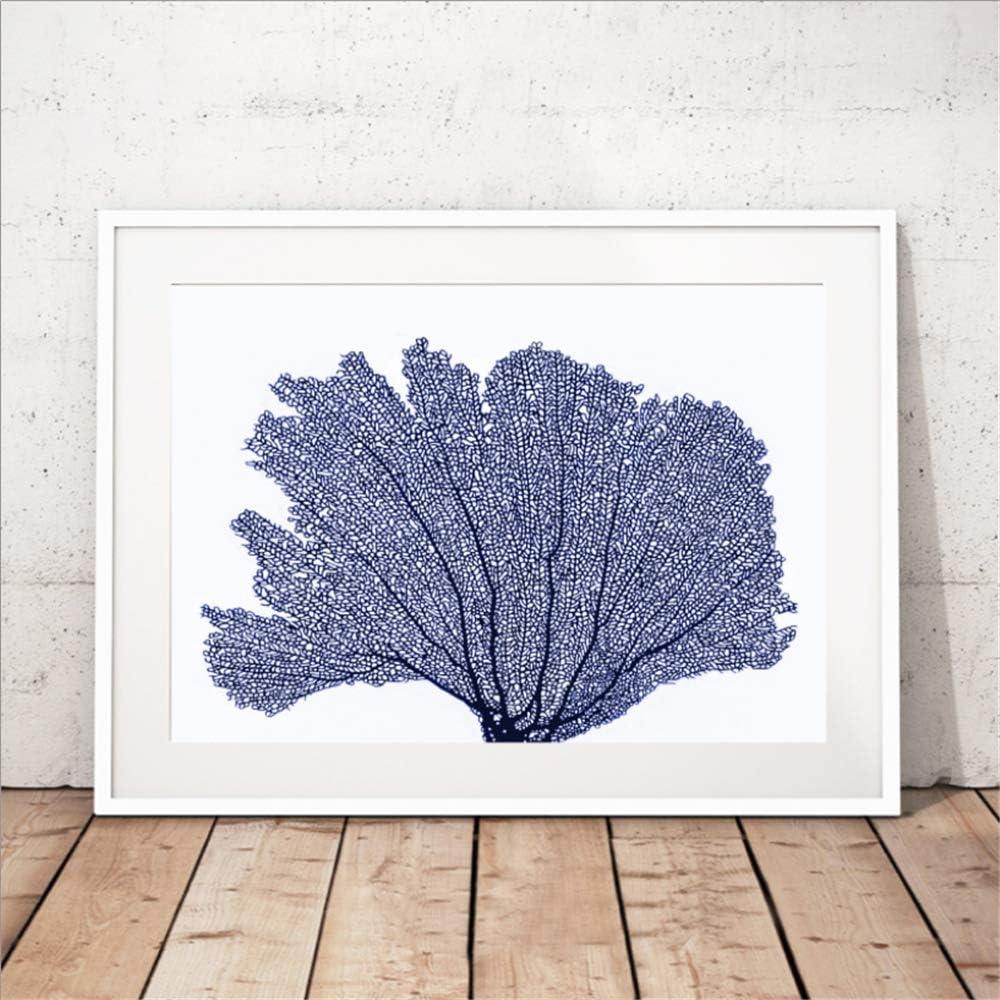 Danjiao Sea Coral Carteles E Impresiones Arte De La Pared Pintura De La Lona Cuadros De La Pared Azul Imagen Costera Decoración Náutica Sala De Estar Decor 40x60cm