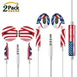 Earbuds,Iphone Earphones,ZEAKKO In Ear Wired Headphones with Mic and Remote Control Ear bud Headset for Apple 6S Plus 6 SE 5S Sammung Galaxy S7 S6 Note 3 MP3 4 5 Player,US Flag In Ear Earbuds,2 Pack