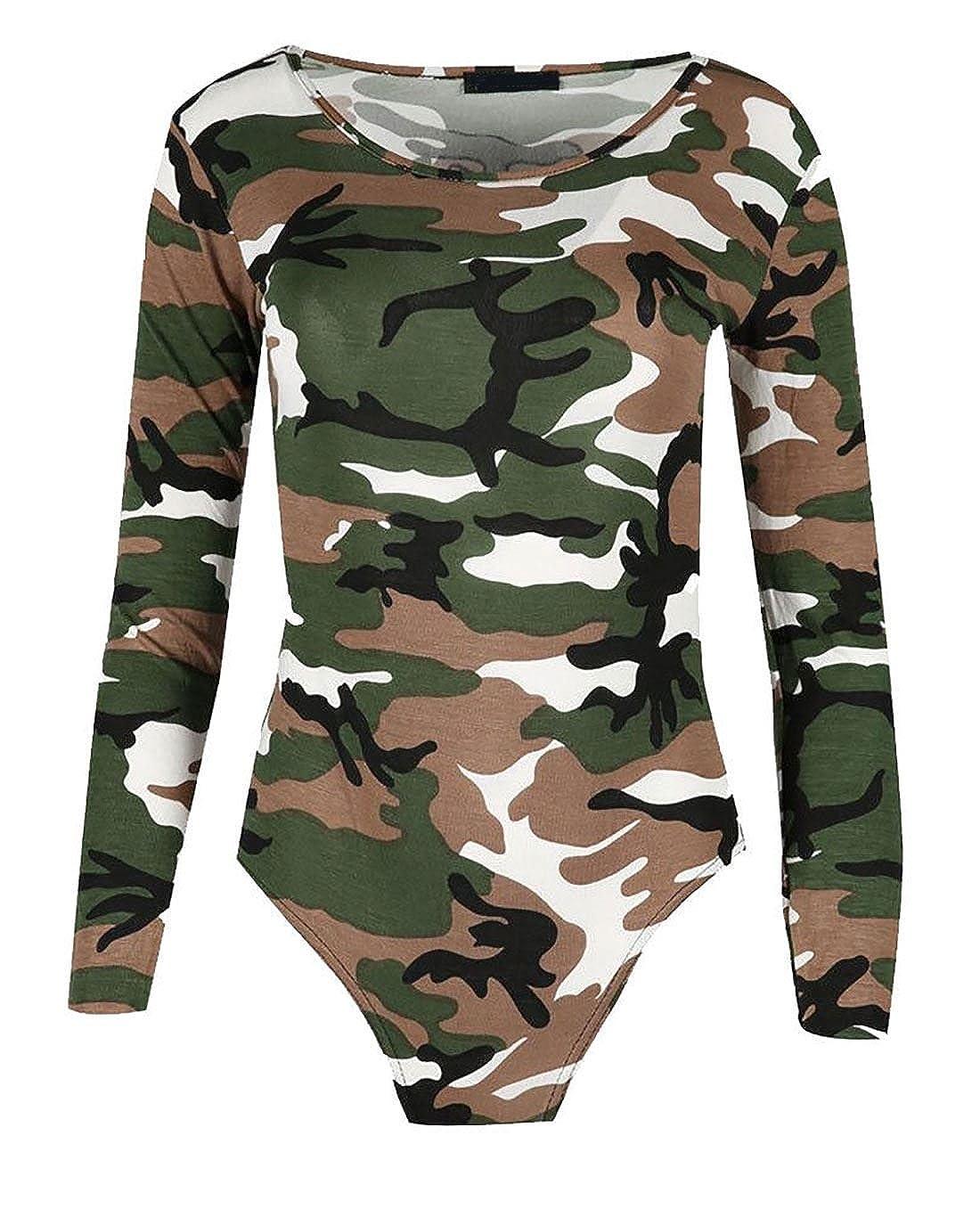 Islander Fashions Frauen Animal Print Langarm Scoop Neck Bodysuit Damen Stretchy Trikot Top S/M, M/L