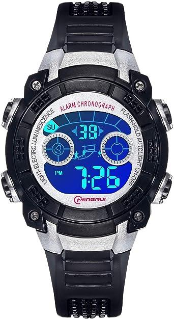 Reloj Digital para Niños Niñas, Reloj Infantil Deportivo 7 Colores Luz LED Multifuncional Impermeable 30 M Relojes de Pulsera para Exteriores con