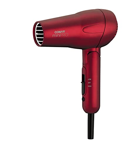 Conair MiniPRO Folding Handle Tourmaline Ceramic Styler and Hair Dryer, Red