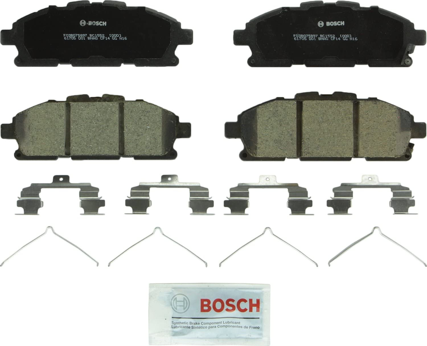Nissan Altima Leaf Bosch BC1650 QuietCast Premium Ceramic Disc Brake Pad Set For Front