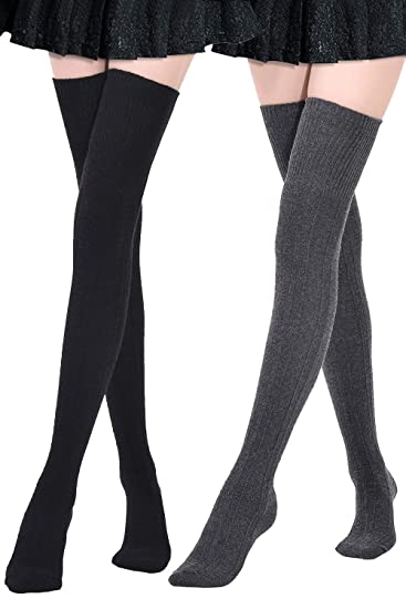72c37ac24 Kayhoma 2 Pairs Thigh High Socks Over the Knee High Boot Socks Cotton Leg  Warmers  Amazon.co.uk  Clothing