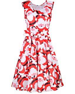 409aa192cf STYLEWORD Women s Christmas Sleeveless Flare Cocktail Dress with Pocket