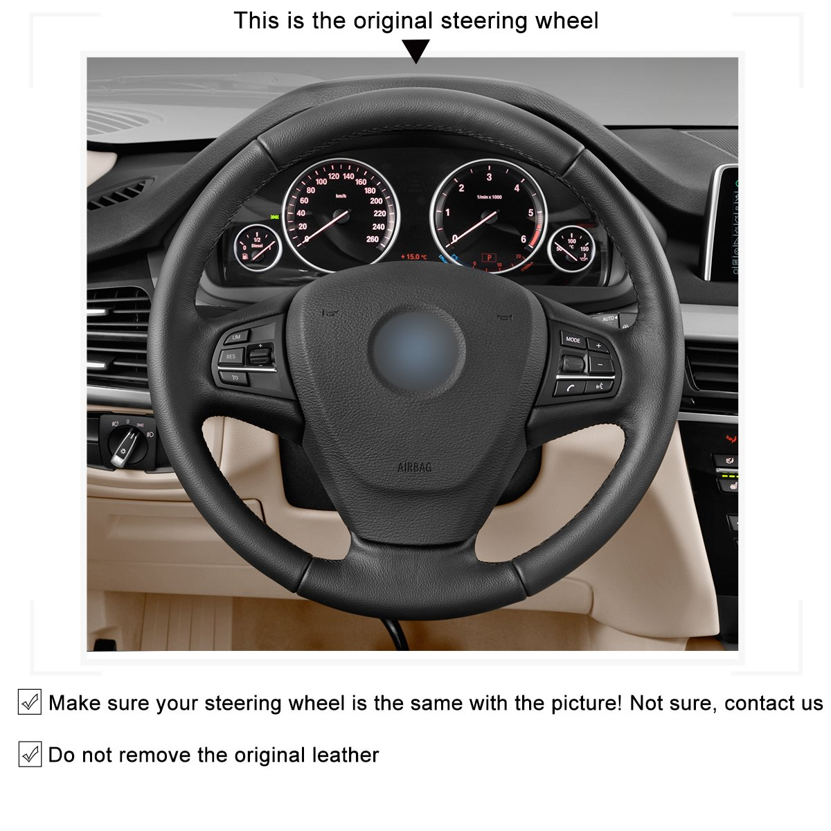 MEWANT Black Artificial Leather Orange Leather 3D Design Car Steering Wheel Cover for BMW F25 X3 2011-2017 F15 X5 2014