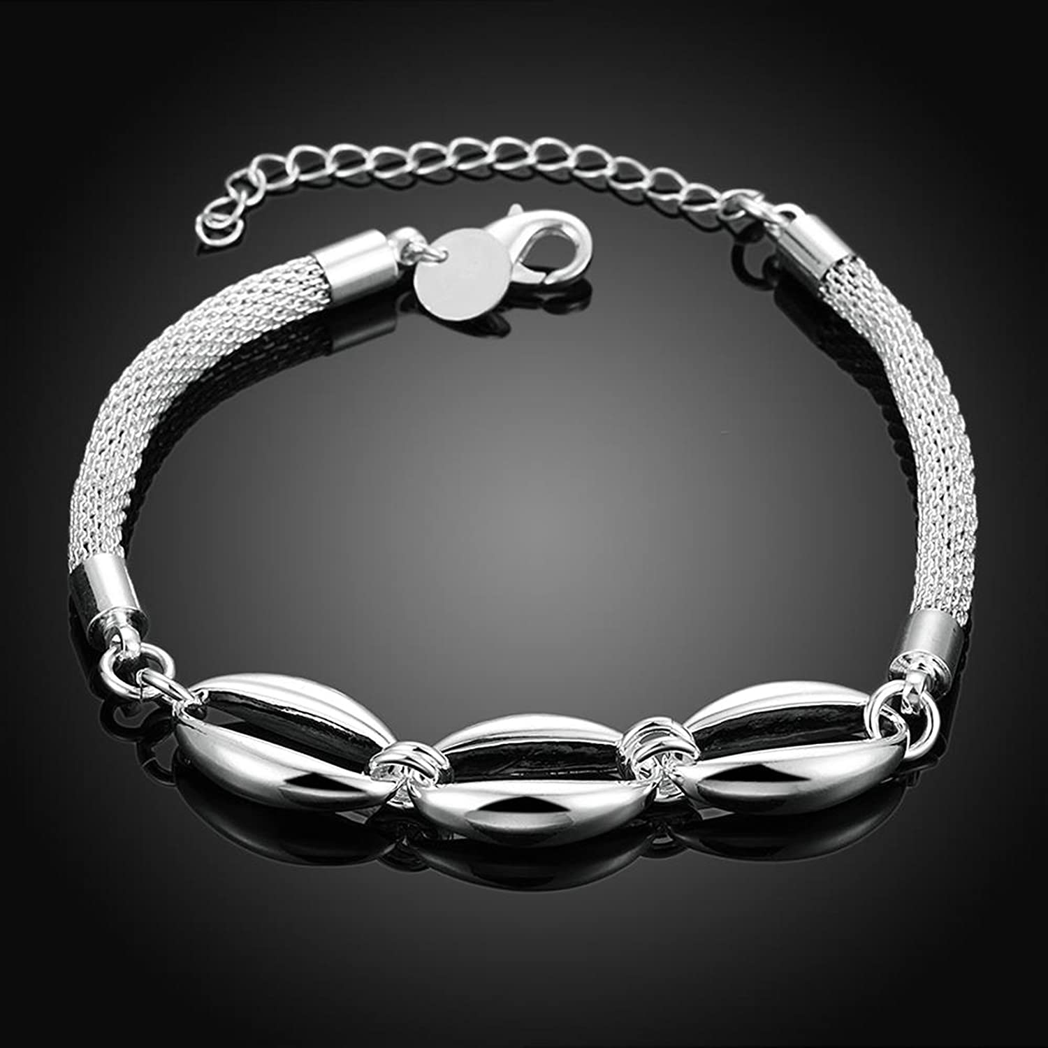 Gnzoe Fashion Jewelry Silver Plated Silver Crystal Olive Shape Bracelet Bangle For Women Girls Adjustable Length
