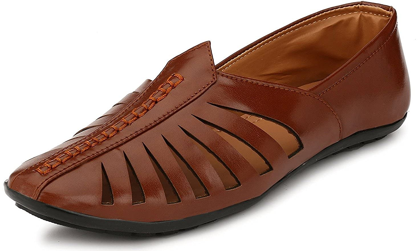 Shoe Fab Men's Stylish 0181 Tan Brown Green Colour Formal Casual Ethnic Office Party Daily Wear Sandal