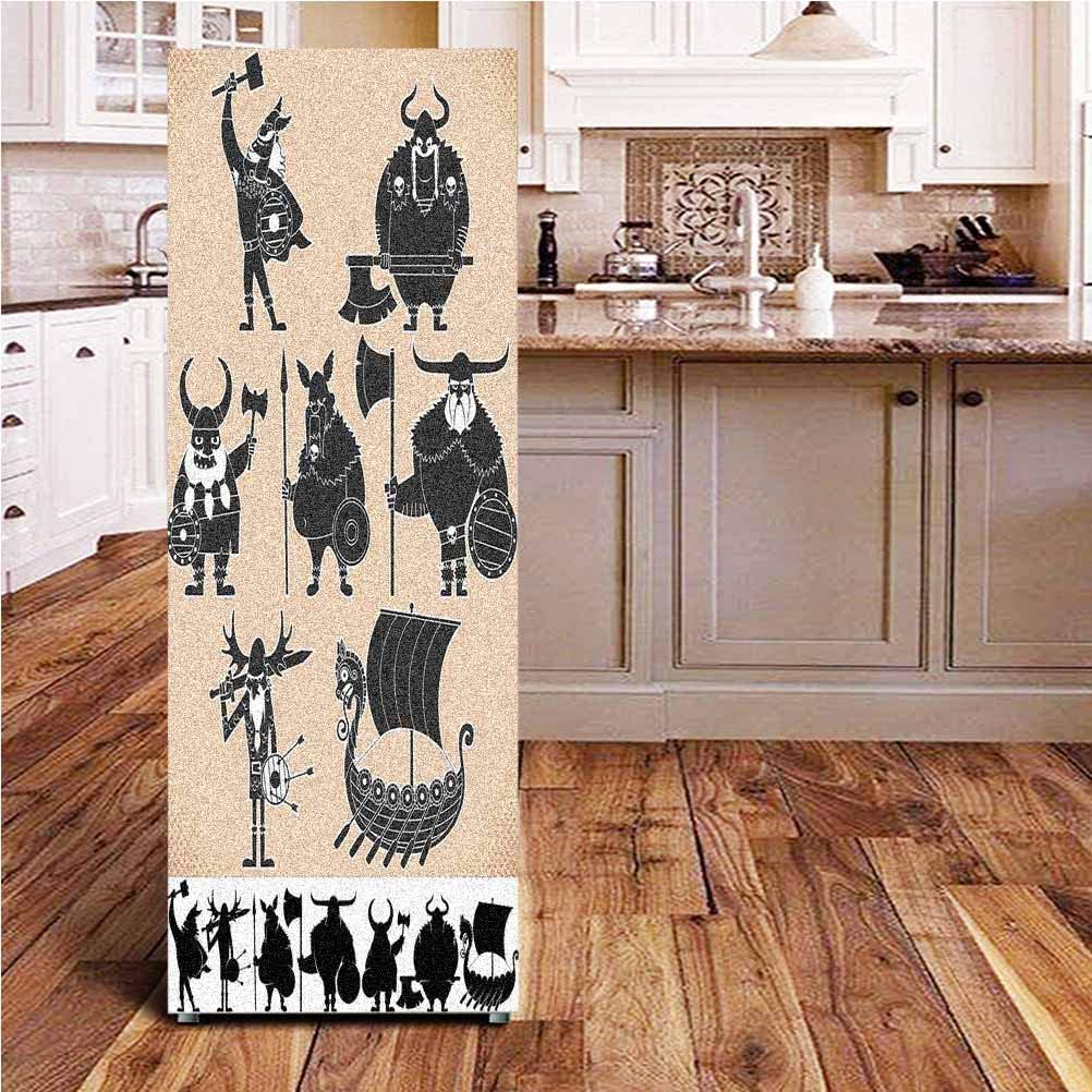 Angel-LJH Nordic 3D Door Fridge DIY Stickers,Cartoon Viking Silhouettes Funny Warriors and Historical Drekar Boat Door Cover Refrigerator Stickers for Home Gift Souvenir,24x59