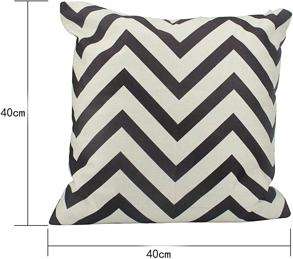 Black No Insert Vikenner Cotton Canvas Pillow Cover Case Elegant Soft Wave Pattern Zig-zag Printed Throw Cushion Cover for Sofa For Home Car Office Decoration 40*40cm
