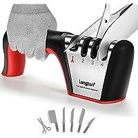longzon Messen slijper -4 in 1 Proffesioneel Slijper -4 Standen -Verschillende Slijpkoppen voor Scharen en Keukenmessen…