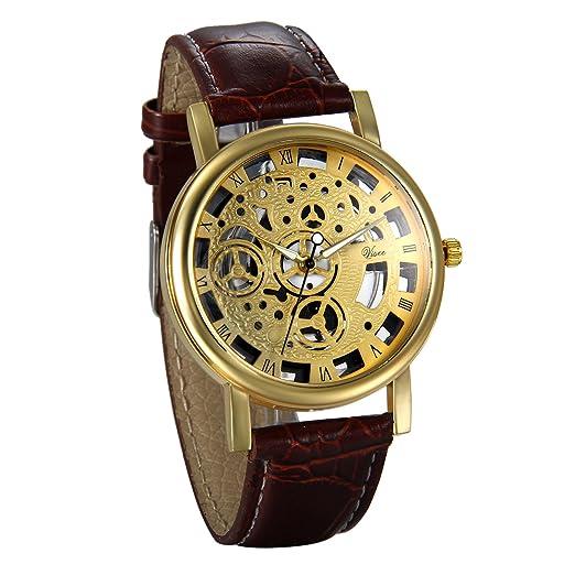 JewelryWe Reloj de Hombre Caballero Retro Vintage Reloj Correa de Cuero Hueco de Estilo Mecanico, Elegante Reloj Cuarzo para Hombre, Marrón Dorado: ...