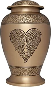 Ansons Urns Angel Heart Cremation Urn - Large Gold Winged Heart Funeral Urn for Human Ashes - Burial urn with Detailed Engraving - 100% Brass - Adult Large Size up to 200 lbs