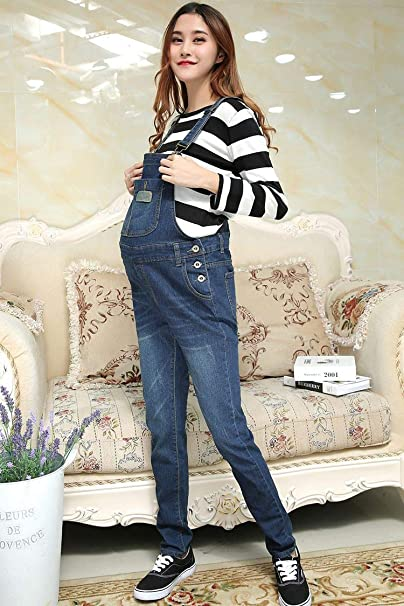 7ed799578348e Happy Island Denim Maternity Suspender Trousers Jeans Pant for Pregnant  Women Clothes Clothing Overall at Amazon Women's Clothing store: