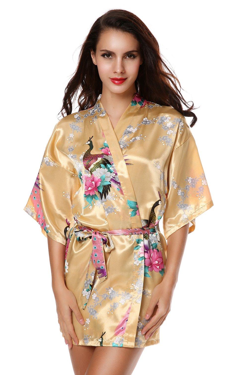 Avidlove Pijama lencería Kimono Corto de satén de Estampado Floral para Mujer product image