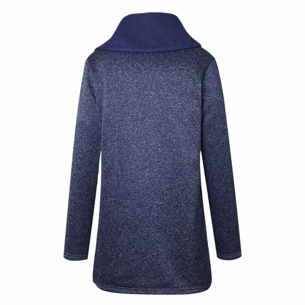 IMJONO Mujer Abrigo de Algodón Sudadera con Cremallera Larga Desgastar Chaqueta - Señoras Desgastar con Bolsillo Parka Invierno Camisa Coat (Azul, ...