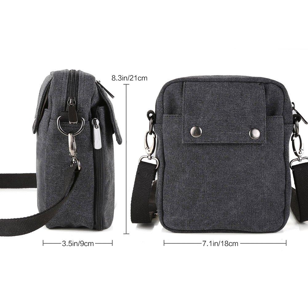 Zicac Mens Small Vintage Multipurpose Canvas Shoulder Bag Messenger Bag Purse