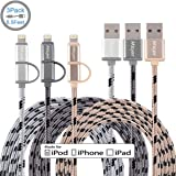 Miger (3Pack) 6.5FT 2 in 1 Lightning and Micro USB Cable Nylon Braided Sync and Charging Cable Cord for iPhone, iPad /iPod and Samsung, Nexus, Nokia, Sony & more