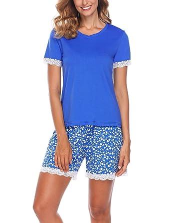 16b7877ffda534 Ekouaer Damen Shorty 2-tlg. Schlafanzug Baumwolle Pyjama Set Kurz  Nachtwäsche Kurzarm Shirt &