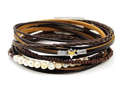 2 Wrap 3 Strand Leather Bracelet Snake Print Magnetic Clasp 7' Wrist - Grey JlFmWrBHn