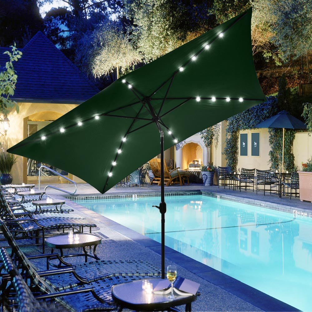 Liang Dong 10 Ft.X6.5 Ft. Solar Outdoor Patio Umbrella with LED Lights Rectangle,4 LED Lights per Long Rib, 2 LED Lights per Short Rib US Delivery (Green) by Liang Dong