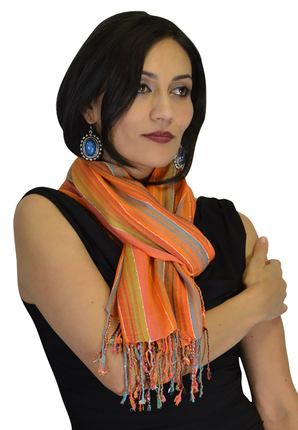 Moroccan Shoulder Shawl Breathable Oblong Head Scarf cotton Exquisite Wrap by Treasures of Morocco Shawls (Image #4)
