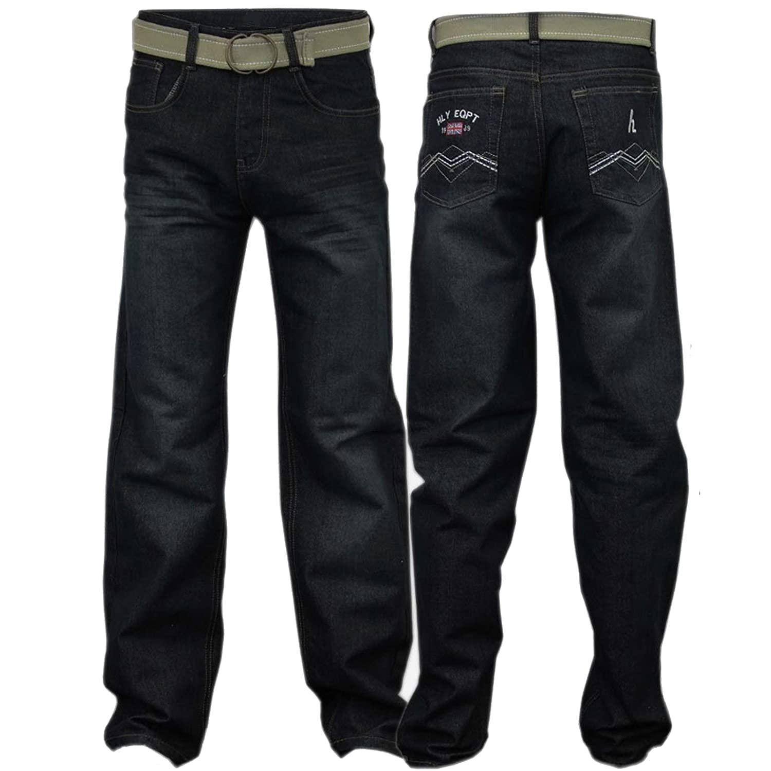 New Full Length Five Pocket Boys Jeans Regular Fit Classic Stretchy Denim  With Belt Trouser: Amazon.co.uk: Clothing