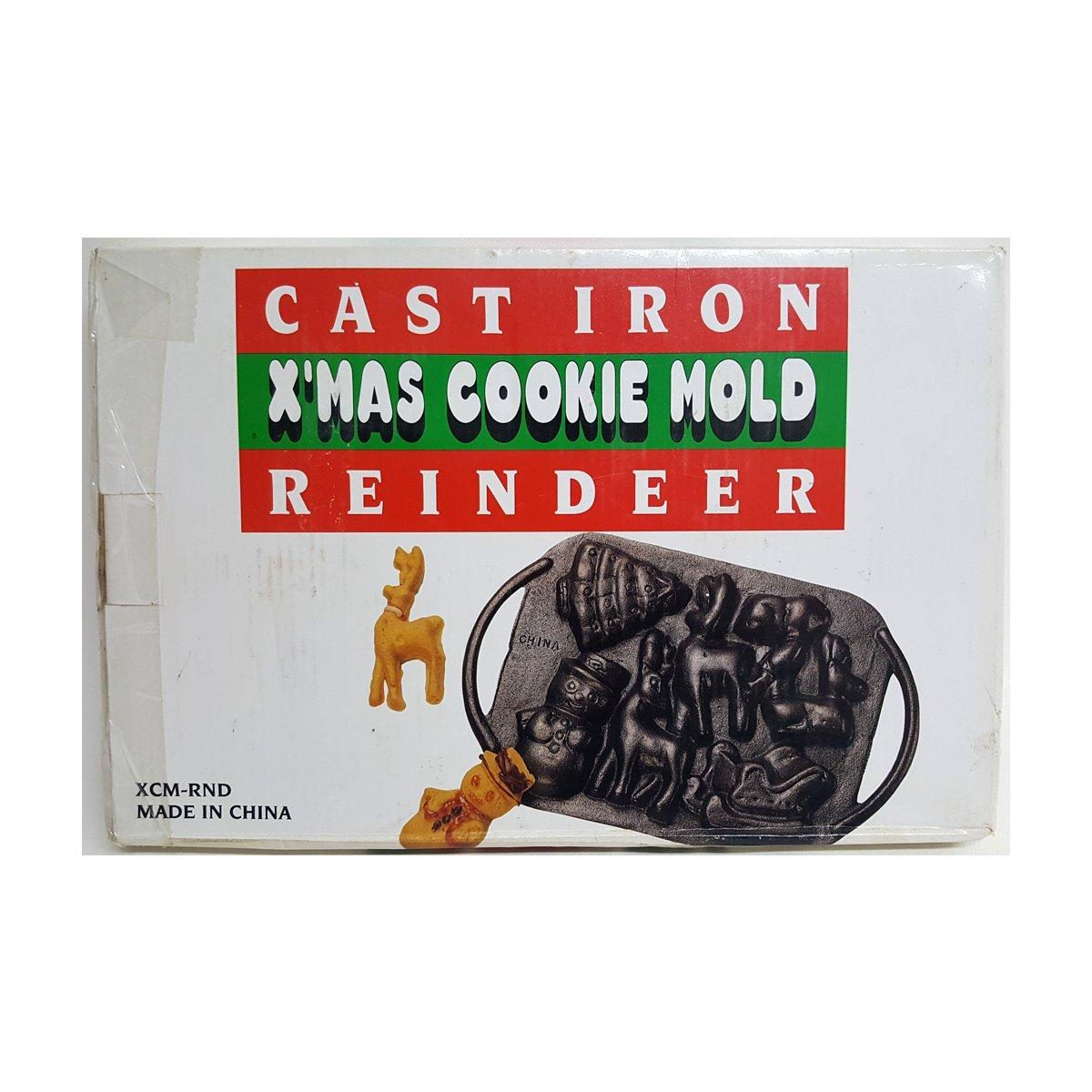 Cast Iron X'mas Cookie Mold Vintage Reindeer