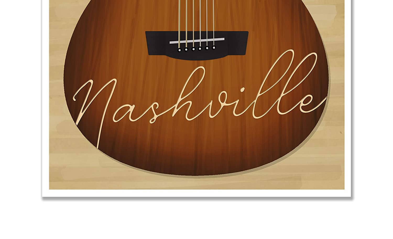 Nashville Guitar Travel Art Poster Print Tennessee Vintage Hanging Wall Art 11-inch by 14-inch