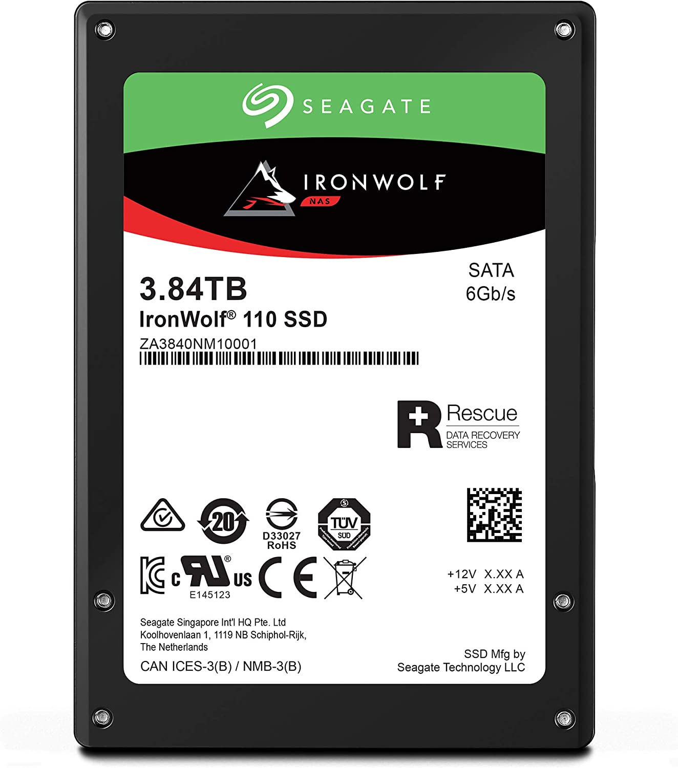 Seagate IronWolf 110 3.84TB NAS SSD Internal Solid State Drive – 2.5 inch SATA for Multibay RAID System Network Attached Storage, 2 Year Data Recovery (ZA3840NM10001)